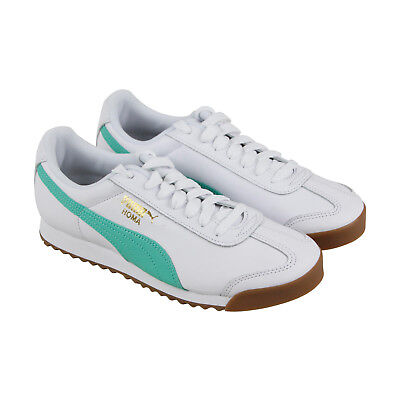 Puma Roma Classic Gum Mens White Leather Lace Up Sneakers Shoes