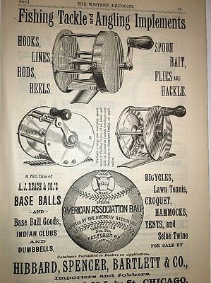 Fishing Tackle Reels Baseballs Sporting Goods Illustrated 1880's Ad Hibbard Spen