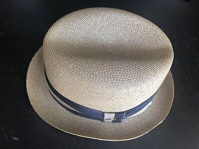 Vintage Stetson Straw  Hat With Navy Blue, Beige And Yellow Ribbon Sz 6-7/8