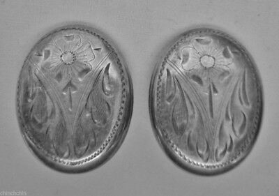 EXQUISITE Etched STERLING SILVER Clip on SIGNED B T 2 EARRINGS Aesthetic Era