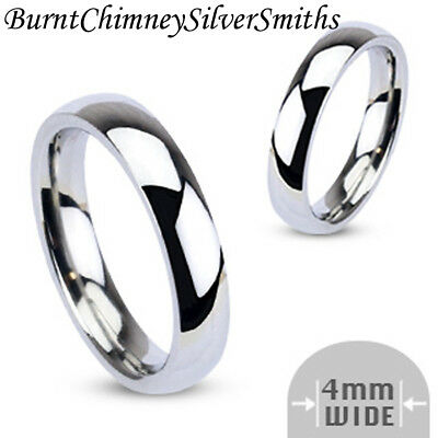 Classic Wedding Band Stainless Steel Ring 4mm Hand Stamping Optional