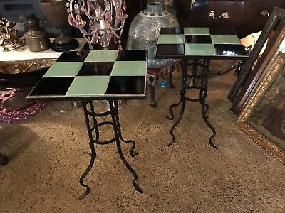Pair Of American 1940's Vintage Iron And Ceramic Tile Top Tables