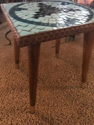 Pair Of 1960's Vintage Carved Wood And Tile Top Side Tables Mcm