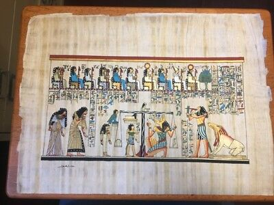 Egyptian Papyrus souvenir art Weighing the heart Afterlife Thoth truth