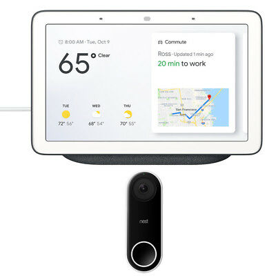 Google Home Hub with Google Assistant (GA00515-US) w/ Nest Wi-Fi Video Doorbell