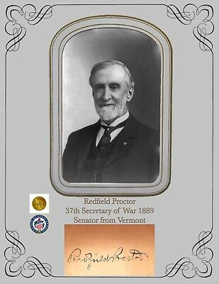 Civil War Colonel Redfield Proctor,37th Sectary of War 1889 Portrait & Autograph