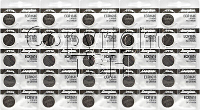 25 pc1616 Energizer Watch Batteries CR1616 CR 1616 Lithium Battery 3.0V 0% HG