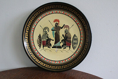 Vintage Greek Hoplite Warrior Mythology Decorative Plate Hand Painted Ares God
