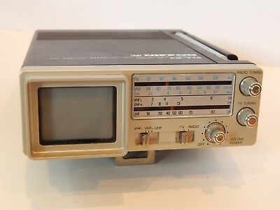 Vintage NIPPON Japan 1980s Portable Micro TV Radio