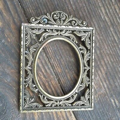 Vintage  Small Ornate Metal Mini Frame Pictures Made in Italy
