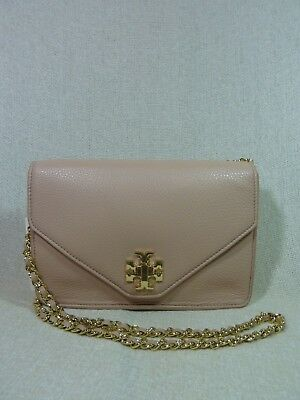 NWT Tory Burch Pink Champagne/Gold Leather Kira Envelope Xbody Bag/Clutch $395