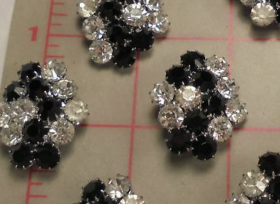 """2 Vintage Jet Black & Clear Rhinestone Abstract Czech Shank Buttons 1-1/4"""" 29mm"""