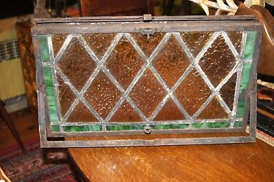 Antique Early Leaded Glass Stained Transom Window in Iron Frame Green & Gold