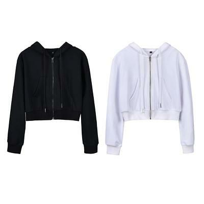 Women Girls Hooded Short Sweatshirt Sports Crop Top Zip Up Casual  Coat Jacket