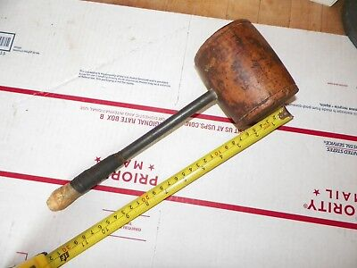 Vintage Hand Made 1.5 Lb. Wooden Mallet Hammer Metal Handle Nice