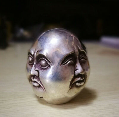 Collectible !CHINAOLD TIBET SILVER CARVED BUDDHA HEAD 4 EMOTIONS STATUE