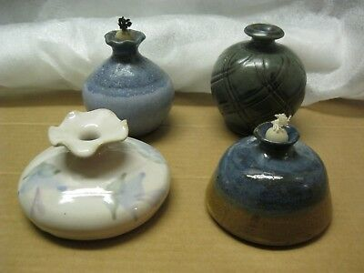 Lot of 4 art studio handcrafted pottery oil lamps 2 w wicks natziger tury +