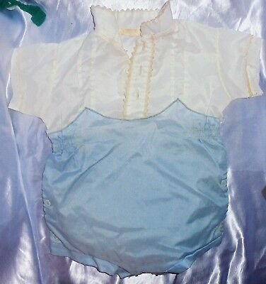 VINTAGE  Baby Clothes 1950's Romper One Piece Rubber Lined Blue & White
