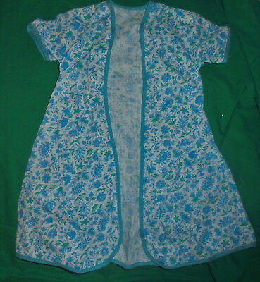1940S 1950S VINTAGE  DOLL CLOTHES Blue & White Floral Robe