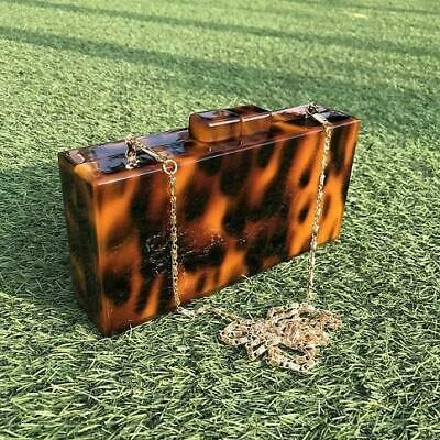 Leopard Pattern Acrylic Clutch Bag Retro Tortoiseshell Box Evening Bags Party...