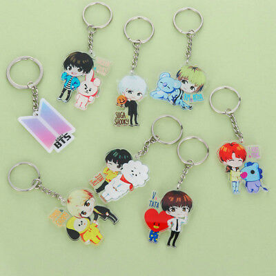 Love Yourself Kpop BT21 Keyring Bangtan Boys BTS Cartoon Keychain Acrylic Gift
