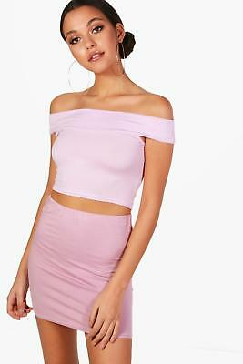 NEW Boohoo Womens Basic Off The Shoulder Crop Top in Polyester