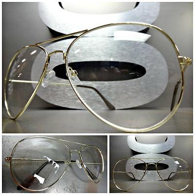 CLASSIC VINTAGE RETRO Style Clear Lens CLUB PARTY EYE GLASSES Gold Wire Frame