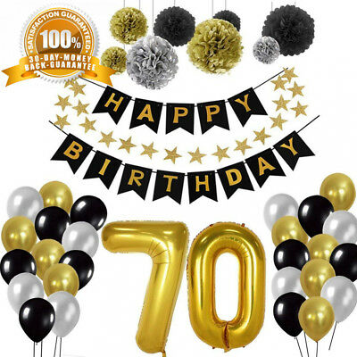 TOUPONS BIRTHDAY DECORATIONS 70th Party Supplies Sets Happy Banner Bunting