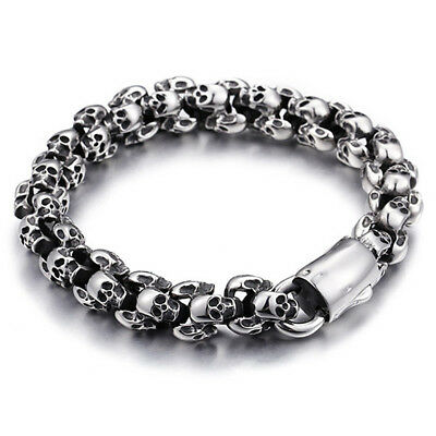 Casting Stainless Steel Skeleton Skull Chain Bracelet Mens Silver Jewelry Gifts