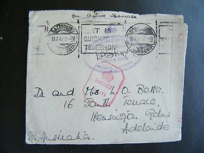 Censored cover Salisbury S(outh) Rhodesia to Adelaide 1942