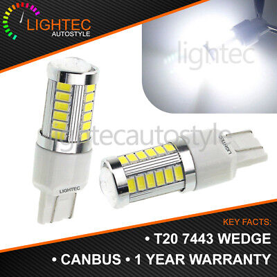 2x T20 33 SMD W21/5W 580 7443 DUAL FILAMENT LED DRL SIDELIGHT SUPER WHITE BULBS