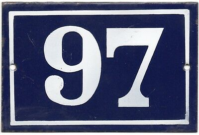 Old blue French house number 97 door gate plate plaque enamel steel metal sign