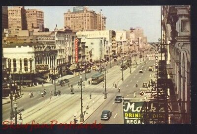 New Orleans Louisiana Downtown Canal Street Scene Old Cars Vintage Postcard