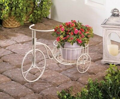 White Antique Style Tricycle Plant Stand use Indoors or Outdoors Garden Decor