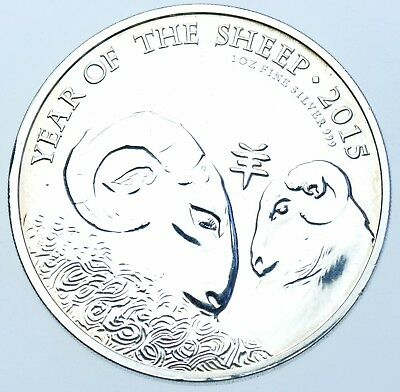 2015 1oz .999 FINE SILVER £2 TWO POUNDS COIN, YEAR OF THE SHEEP BU