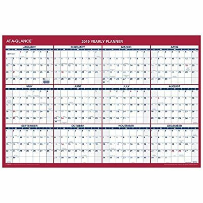 """AT-A-GLANCE 2019 Yearly Wall Calendar, 36"""" x 24"""", XLarge, Vertical/Horizontal"""