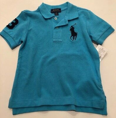 NWT Ralph Lauren Boy Striped Aqua Blue Pony Polo Cotton Mesh Shirt 2 2T