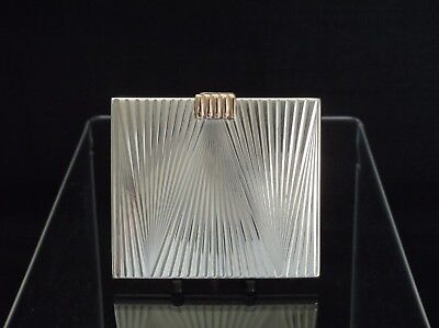 Swiss Art Deco 925 Silver & 14K Rose Gold Compact C1930