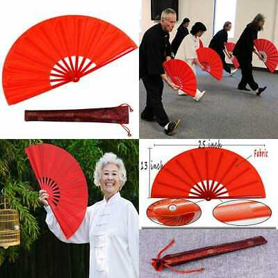 Dance Folding Hand Fan RED LARGE Chinese Kung Fu Tai Chi Plastic Nylon Held Fans