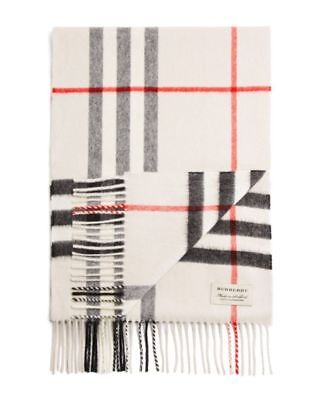 096a508d85df0 NWT  435 Authentic Burberry GIANT ICON CHECK CASHMERE SCARF IVORY W GIFT  RECEIP