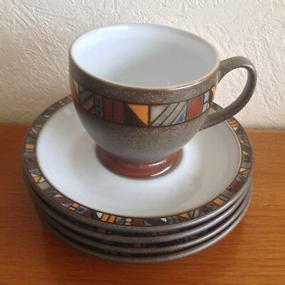 Denby Marrakesh Cup & 4 Saucers. New/Ist quality.