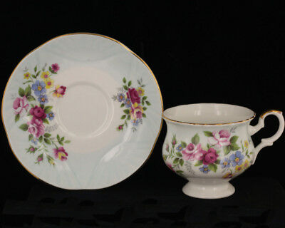 Vintage  Crown Staffordshire Pink Blue Yellow Flowers England Cups Saucer Set