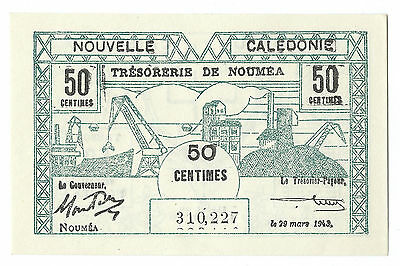 1943 New Caledonia 50 Centimes Note, P-54, Crisp Uncirculated