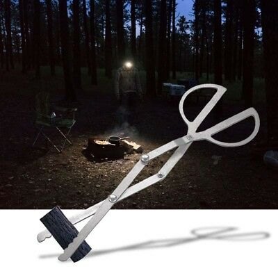 Log Grabber Fireplace Tongs Wood Fired Oven Tool Grill Camping Fire Pit Tool BS