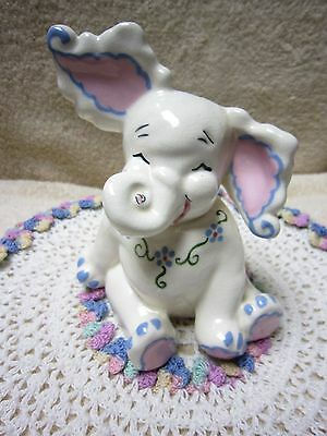 "Vintage CERAMIC Elephant (Piggy) Animal Coin Bank 1965 --- 6 1/2"" Tall Marked"