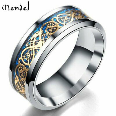 Mens Celtic Blue Stainless Steel Cool Dragon Ring Silvering Wedding Band