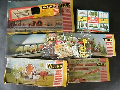 FALLER - fences, buildings, trees, platforms, mixed boxed kits.