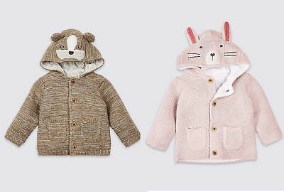 M&S Marks & Spencer Baby Girl Boy Cotton Knitted Animal Face Hooded Cardigan NEW