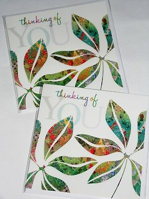 THINKING OF YOU CARDS JUST 25p x 12   'TWICE AS NICE' WRAPPED, FOILED, (CL46