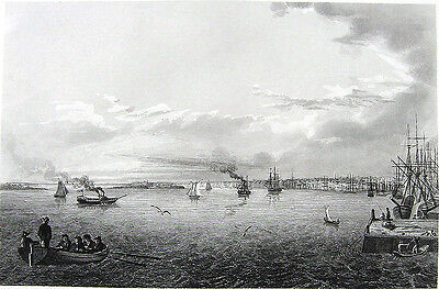 PHILADELPHIA DELAWARE RIVER SAILBOATS SHIPS City View ~ 1846 Art Print Engraving